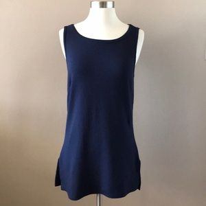 Gap Textured Side Split Navy Stretch Tank Tunic